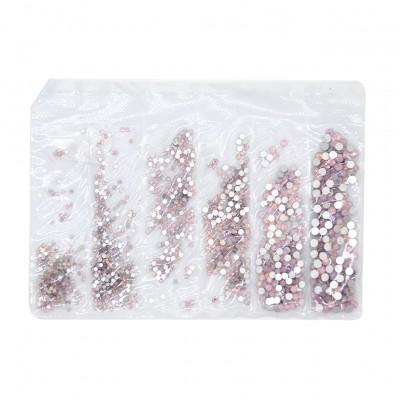 Стразы микс размеров розовый опал Rose Opal, упаковка