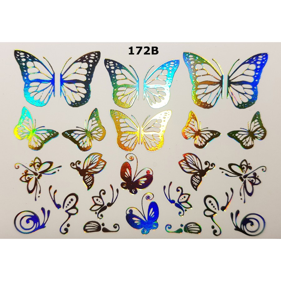 172B Фольгированный слайдер дизайн NEW MAX бабочки (золото голограмма)