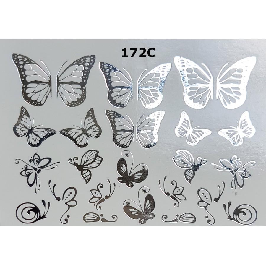 172С Фольгований слайдер дизайн NEW MAX метелики (срібло)