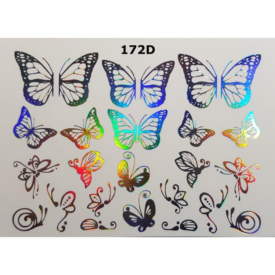 172D Фольгований слайдер дизайн NEW MAX метелики (срібло голограма)
