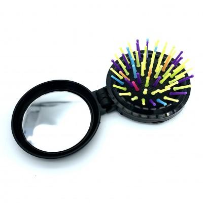 Расческа для волос, круглая, раскладная с цветными зубьями