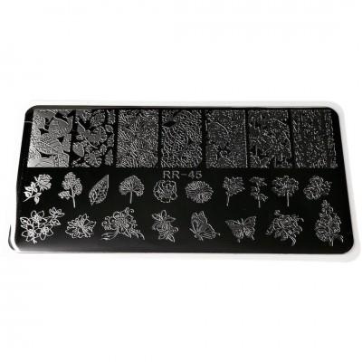 Пластина для стемпинга листя RR - 26, металева