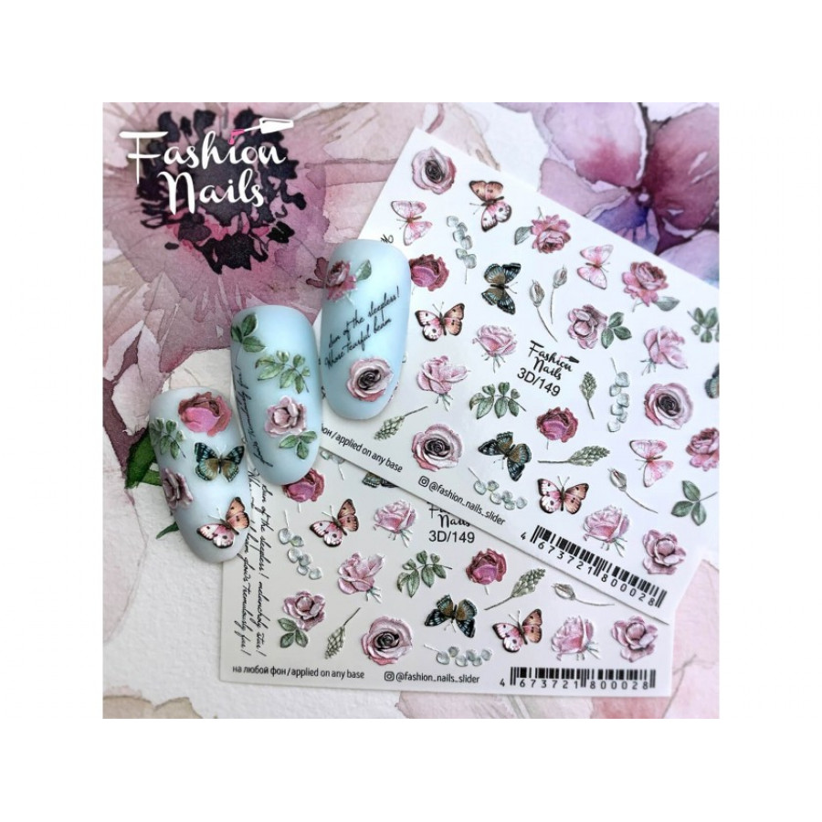 3D-149 Слайдер дизайн Fashion, цветы, бабочки