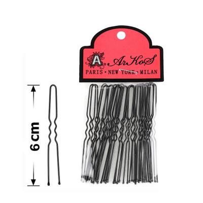 Шпильки для волос в пакете 6 см черные (20 шт)