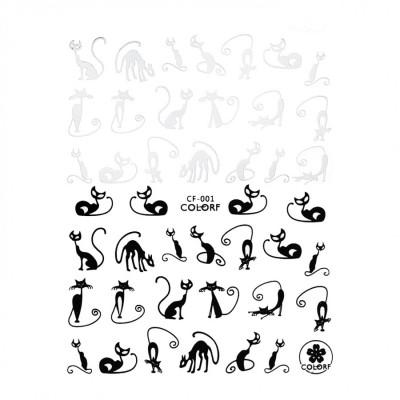 Гибкие стикеры (наклейки) для ногтей, CF-001 (коты черные и белые)
