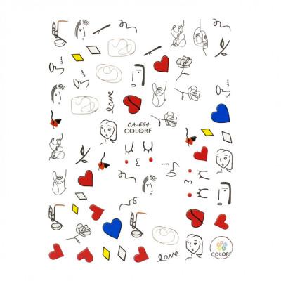 Гибкие стикеры (наклейки) для ногтей, CA-664 (абстракция)