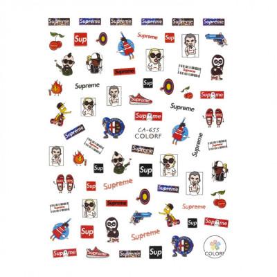 Гибкие стикеры (наклейки) для ногтей, CA-655 (поп-арт)