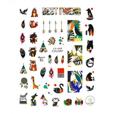 Гибкие стикеры (наклейки) для ногтей, CA-649 (тропики, индейцы)