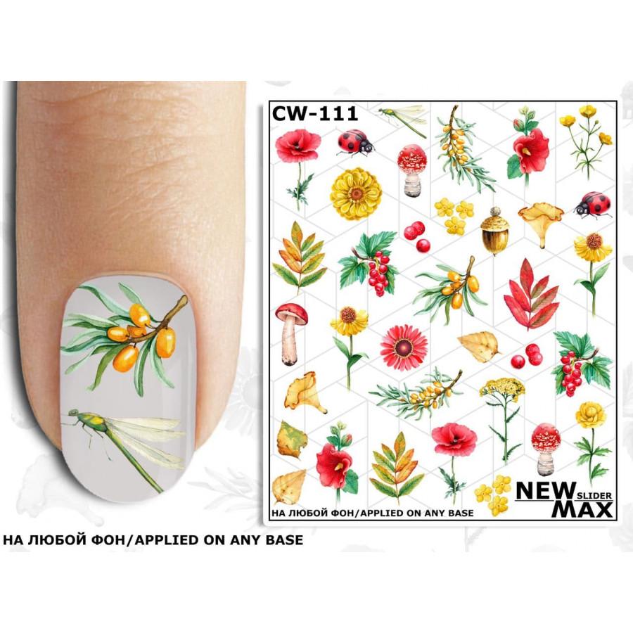 CW - 111 Слайдер дизайн для нігтів NEW MAX осінь (квіти)