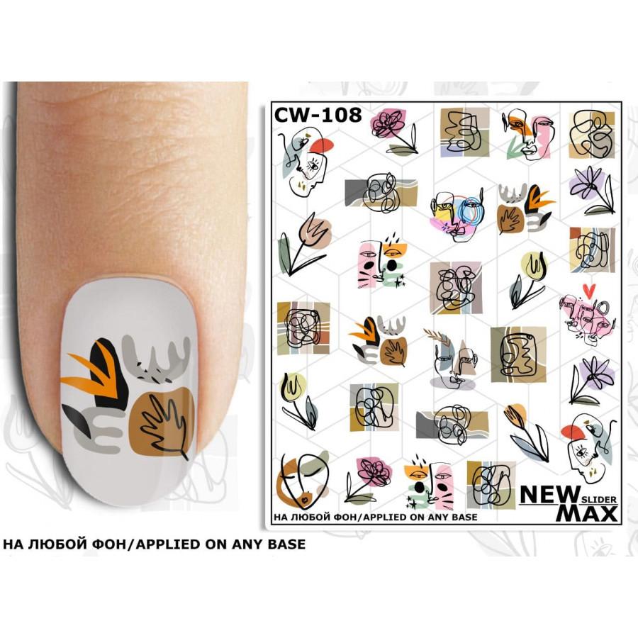 CW - 108 Слайдер дизайн для нігтів NEW MAX абстракція (квіти)
