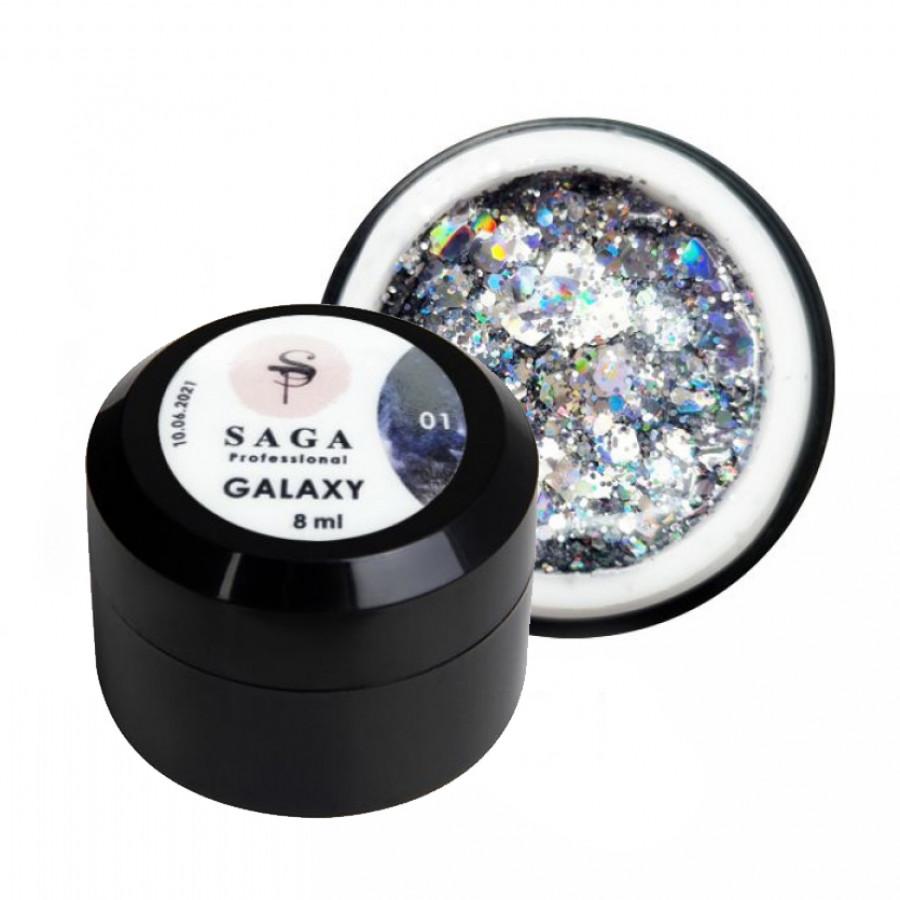 Гель глітерний SAGA Galaxy 001, срібло, 8 ml