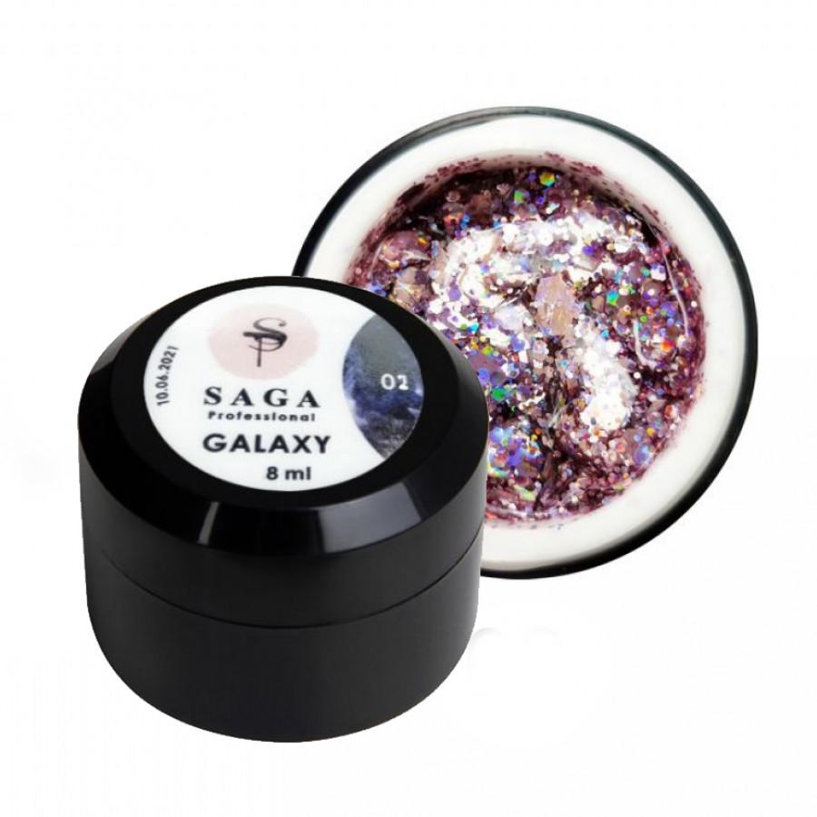 Гель глиттерный SAGA Galaxy 002, коралловый, 8 ml