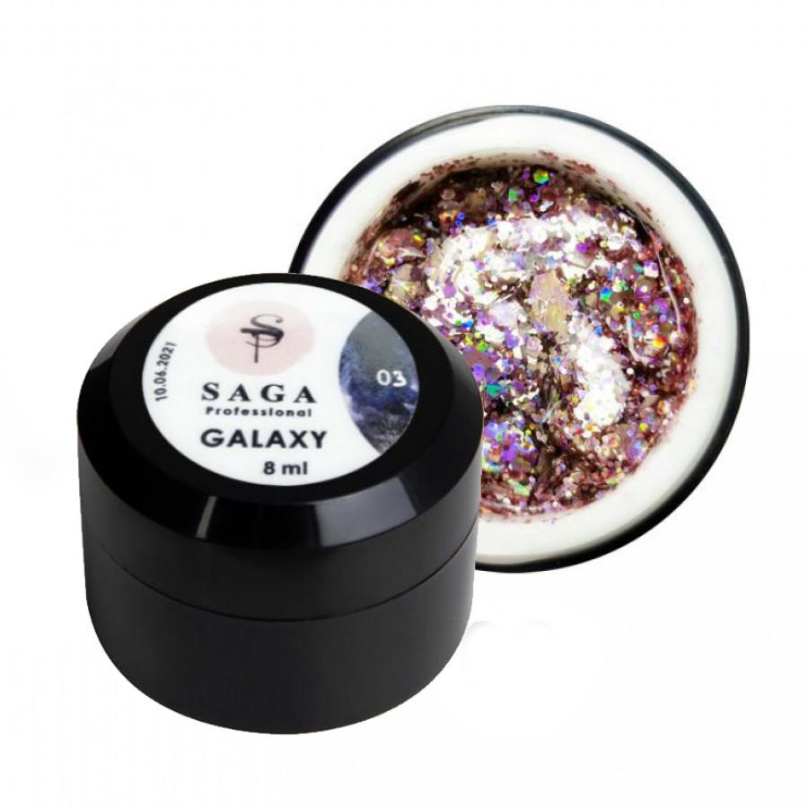 Гель глиттерный SAGA Galaxy 003, розовый, 8 ml
