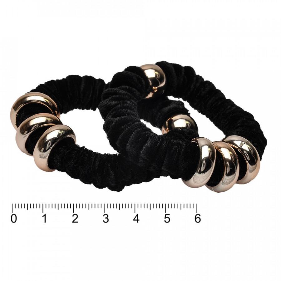 Резинка для волос велюровая, тонкая с кольцами, черная, 1 шт