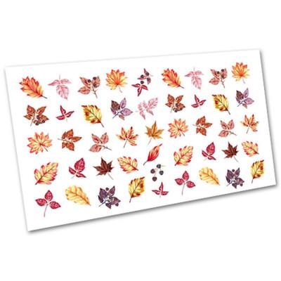 Слайдер-дизайн для ногтей 3043, листья, осень