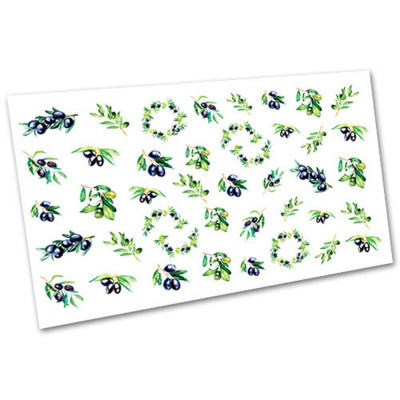 Слайдер-дизайн для ногтей 1288, листья, олива