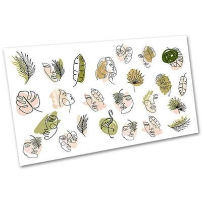 Слайдер-дизайн для ногтей 2097, листья, олица