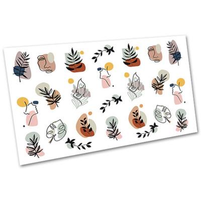 Слайдер-дизайн для ногтей 2104, листья, абстракция