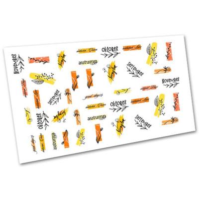 Слайдер-дизайн для нігтів 1130, листя, написи