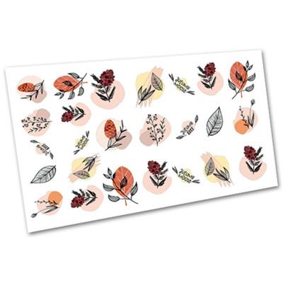 Слайдер-дизайн для нігтів 1129, листя, абстракція