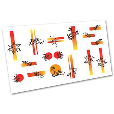 Слайдер-дизайн для ногтей 3005, листья, осень