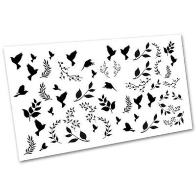 Слайдер дизайн для нігтів 2034, гілочки, птахи