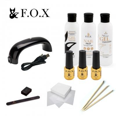 Стартовый набор для маникюра с гель-лаком FOX SMART и LED лампой 9W
