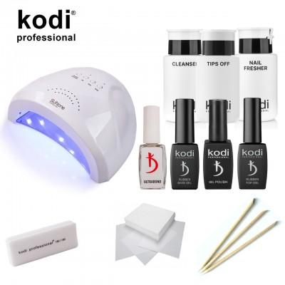 Стартовый набор для маникюра гель лаком Kodi SMART c гибридной лампой SUN1 UV LED 48 W